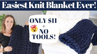 HOW TO HAND KNIT A BLANKET  | HOW TO MAKE A CHUNKY KNIT BLANKET | DIY CHUNKY KNIT BLANKET 2019
