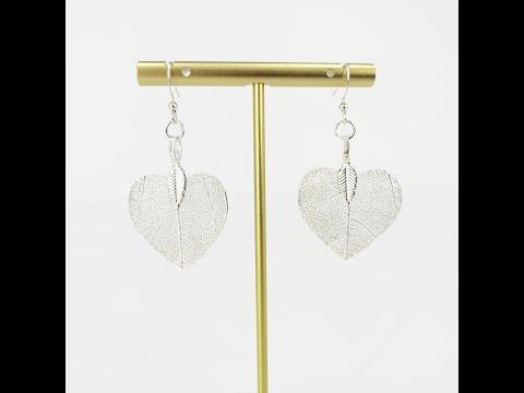 Heart - Real Leaf Dangle Earrings