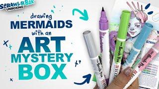 PASTEL WATERCOLOR BRUSH PENS! | Mystery Art Supplies | Scrawlrbox Unboxing | Mermay
