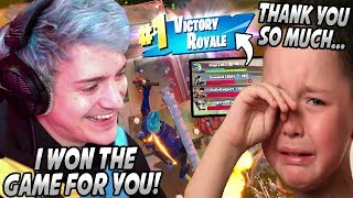 Ninja Makes A Little Kid CRY In Squad Fills After CLUTCHING The Game & Getting Him A WIN!