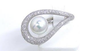 【円虹~えんこう~】Pt900 南洋白蝶パール ダイヤモンド リング