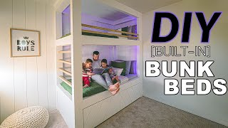 DIY Twin Built-in Bunk Bed For Kids