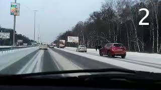Три ДТП на бориспольской трассе под Киевом 28 февраля