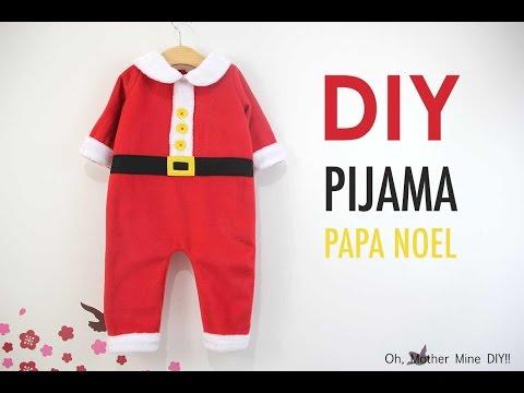 DIY Disfraz casero tipo pijama de Papá Noel para bebés