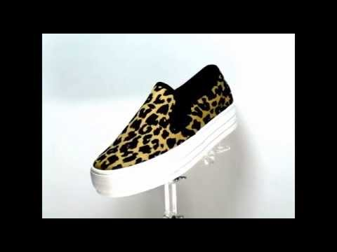 B 8856 Yellow Leopard Print Korean Style slip-on sneakers