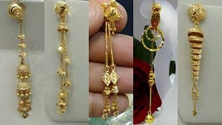 Latest Light Weight Gold Dangling Earrings Designs 2018
