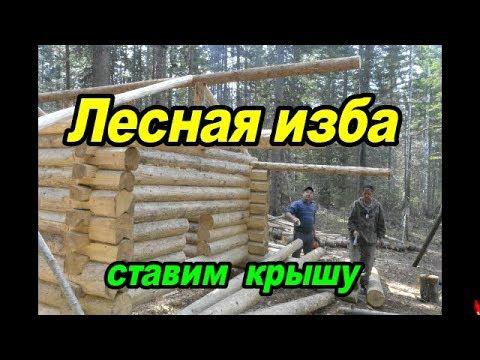 Лесная изба.Ставим крышу #3.      Forest hut.Put the roof.