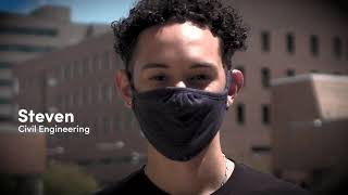 student wearing a mask outdoors
