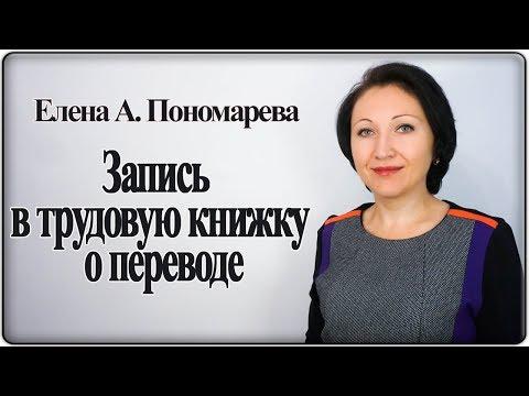 Как сделать запись в трудовую книжку о переводе - Елена А. Пономарева
