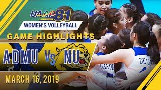 UAAP 81 WV: ADMU vs. NU | Game Highlights | March 16, 2019
