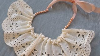 How To Make A Beautiful Lace Pearl Bib Necklace - DIY Style Tutorial - Guidecentral