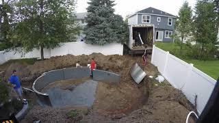 VINYL LINER POOL INSTALL - CONSTRUCTION TIME LAPSE KIDNEY SHAPE