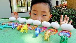 공룡 메카드 찾기! 예준이와 아빠 공룡알 서프라이즈 에그 숨바꼭질 색깔놀이 폴리 타요 자동차 장난감 놀이 Dinosaurs Mecard Surprise Egg