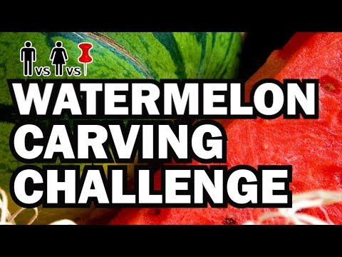 Watermelon Carving Challenge - Man Vs Corinne Vs Pin