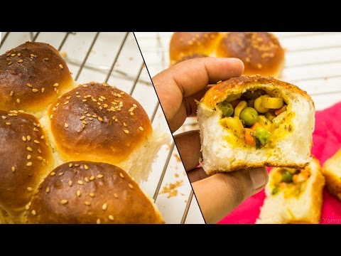 Stuffed Buns Recipe   Surprise Inside Ladi Pav Bread Feather Soft Recipe   Eggless Baking