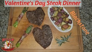 """Perfect Valentine's Day Dinner   Heart Shaped Steaks   Blackstone 28"""" Pro"""