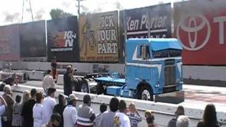 """1978 Freightliner Cab Over """"Unconventional"""" Running Down The Strip At Truckin' For Kids 2010"""