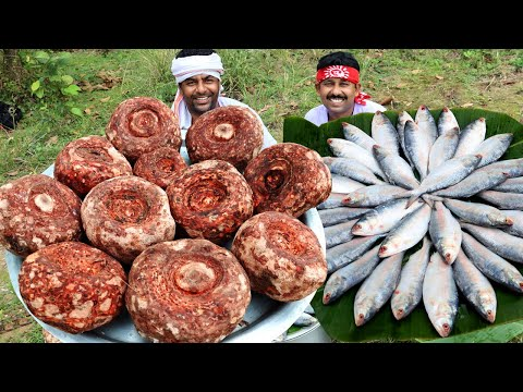 Hilsha ELEPHANT FOOT YAM COOKING | Traditional Ilish Fish curry with Yam Recipe for Village People
