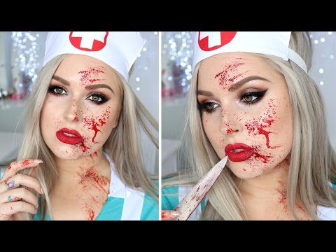 Blood Splatter Tutorial ♡ Sexy Nurse Halloween Makeup Tutorial Costume