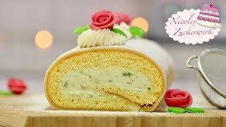 Pistazien-Biskuitrolle mit Marzipan I SUPERLECKER I Rezept von Nicoles Zuckerwerk