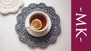 Салфетка крючком. Как связать подставку крючком из трикотажной пряжи | Napkin Crochet