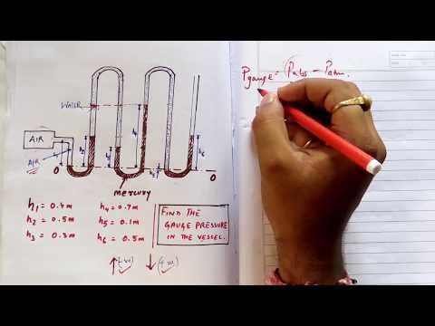 multitube manometer pressure problems (Fluid Mechanics lecture)