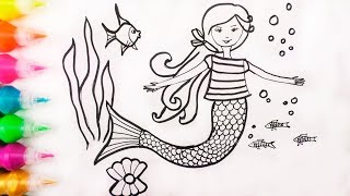 How to Draw Glitter Mermaid | Learn Colors with Watercolor Paints | Drawing and Coloring for Kids