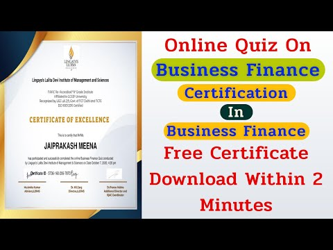 Free Certificate On Business Finance | Free Courses Online With ...