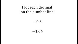 Plot Negative Decimals on the Numbers Line