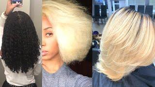 ⚡️ Black Girl SLAYS Blonde Hair❕❕ ⚡️ SILK PRESS & BLONDE COLOR TRANSFORMATION ON NATURAL HAIR