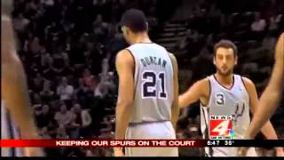 Michael Garofalo talks with the Spurs doctor
