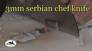 new 3mm serbian chef knife cutting