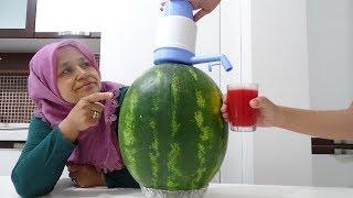 KARPUZA Pompa Taktık Şarıl ŞARIL Suyunu Akıttık !! DIY 9 Watermelon Tricks!! Karpuz SUYU
