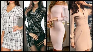 Latest Office Wear Knee Length Bodycon Dresses Collection