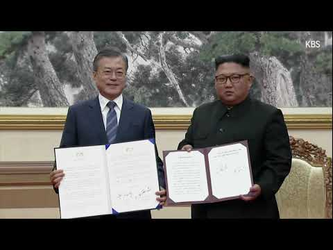 South Korean Defence Minister Song Young-moo and North Korea's Minister of the People's Armed Forces No Kwang Chol signed an agreement that Seoul says is about reducing military tensions along the border. (Sept. 19)