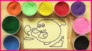 Toys for kids - Coloring Dolphin sand painting (Chim Xinh)