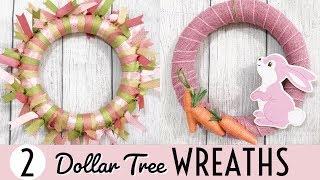 DOLLAR TREE DIYS | EASY SPRING & EASTER WREATHS | EASTER DOLLAR TREE CRAFTS