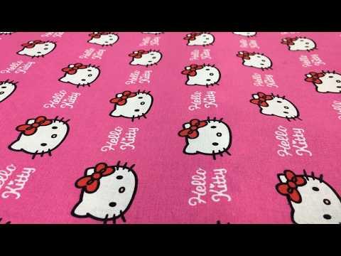Dekostoff Hello Kitty Katze pink weiß