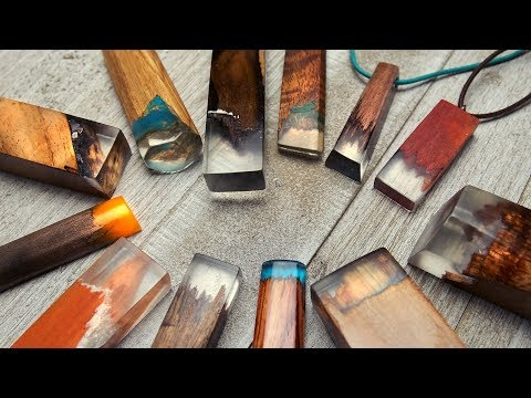 Wood+Resin pendants by The Crafsman