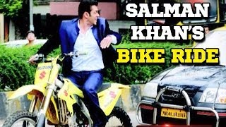 Salman Khan takes a bike ride on the sets of Jai Ho - YouTube