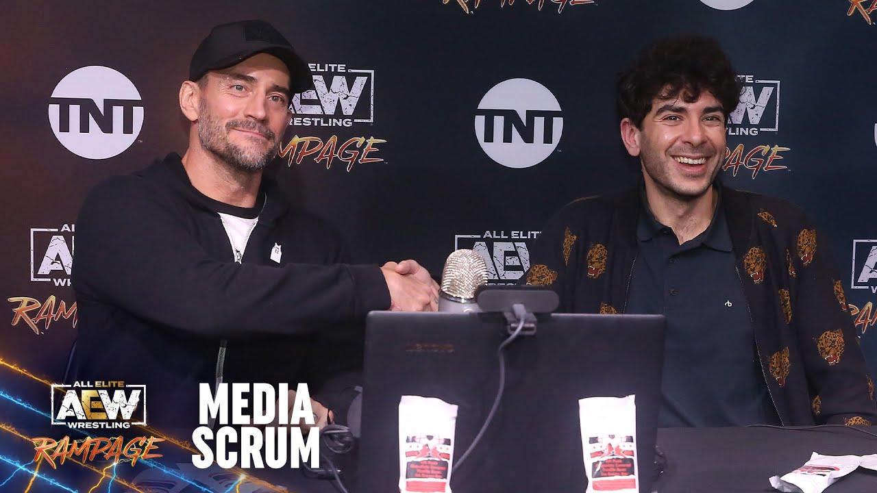 Tony Khan And CM Punk Post-AEW Rampage Media Scrum