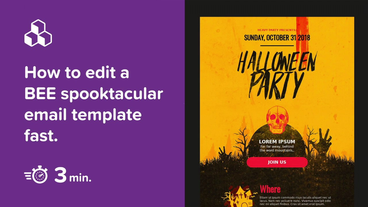 How to edit a BEE spooktacular email template in 3 minutes