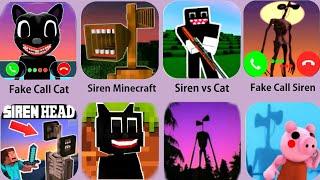 Siren Head,Cartoon Cat Minecraft,Siren Head Game,Cartoon Cat Call,Piggy Siren Granny
