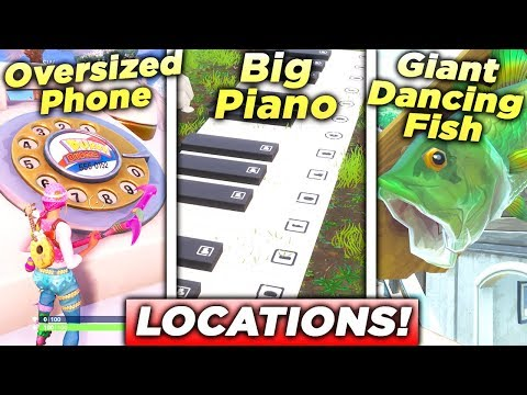"""Visit an Oversized Phone, a Big Piano, and a Giant Dancing Fish trophy"" ALL 3 LOCATIONS FORTNITE!"