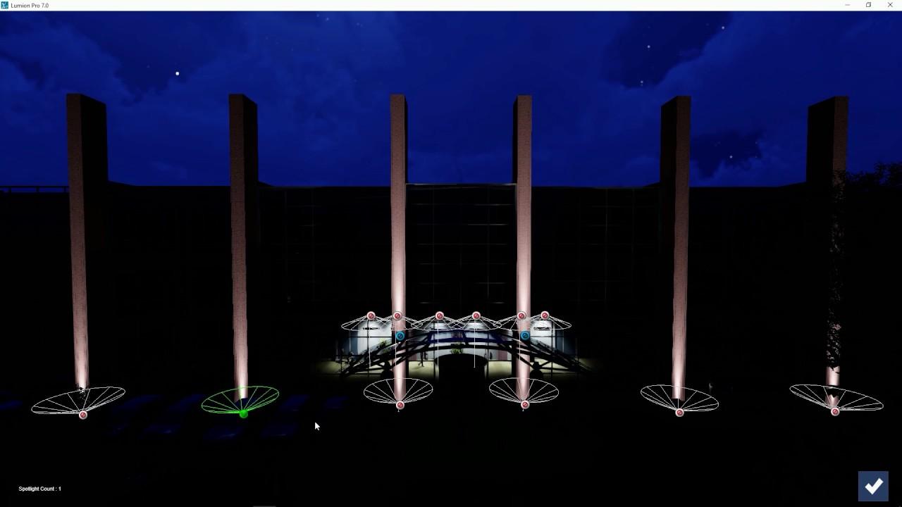 エフェクト:スポットライトの色をアニメーション化する(Lumion7 series)