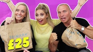 MUM VS DAD?! £25 PRIMARK OUTFIT CHALLENGE!!! 😱😬