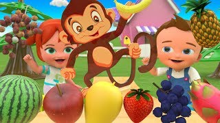 Little Babies Fun Play Learning Fruits Names for Children with Wooden Tree Toy Set Monkey 3D Cartoon