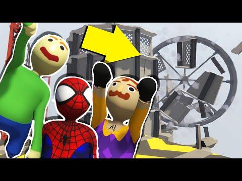 Baldi, Hello Neighbor, & Spiderman cause MASSIVE DESTRUCTION! | Human Fall Flat