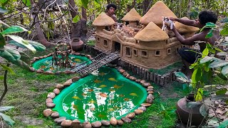 Building Castle Mud Cat House For kittens Abandoned With Red Fish Pond At Forest