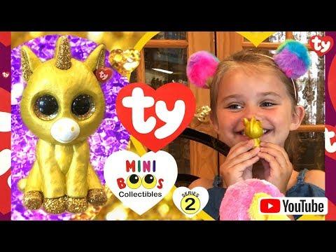 MINI BOOS SERIES 2 / MINI BOOS BLIND BOXES / TY / MYSTERY CHASER / GLITZ THE GOLDEN UNICORN